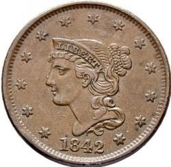 Νόμισμα > 1Σέντ, 1840-1857 - Η.Π.Α  (Liberty Head Cent) - obverse