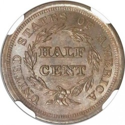 Munt > ½ cent, 1849-1857 - Verenigde Staten  (Braided Hair Half Cent) - reverse
