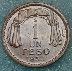 Münze > 1Peso, 1953 - Chile  - obverse
