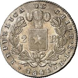 Münze > 2Reales, 1843-1852 - Chile  (Diameter 23mm) - reverse