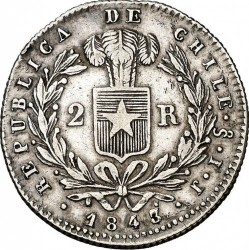 Moneta > 2 reals, 1843 - Cile  (Diametro 24,5 mm) - reverse