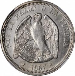 """Moneta > 1peso, 1867 - Cile  (Argento /colore grigio/ """"1 PESO"""") - obverse"""