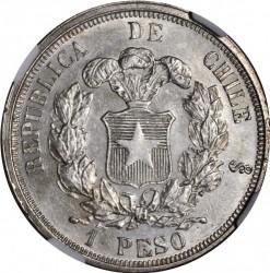 """Moneta > 1peso, 1867 - Cile  (Argento /colore grigio/ """"1 PESO"""") - reverse"""