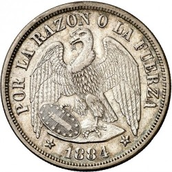 Moneta > 1peso, 1867-1891 - Cile  - obverse