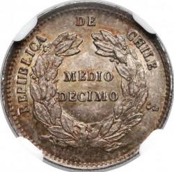 Monedă > ½decimo, 1865-1866 - Chile  - reverse