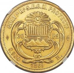Moneta > 20pesos, 1869 - Guatemala  - reverse