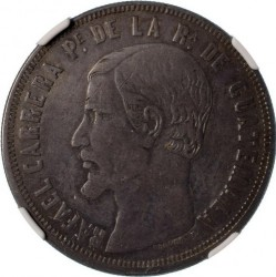 سکه > 1 پزو, 1859 - گواتمالا  (Silver /gray color/) - obverse