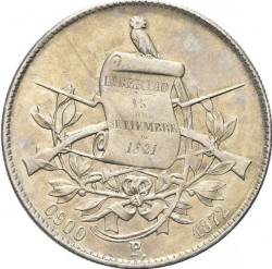Moneda > 1peso, 1872-1873 - Guatemala  - obverse