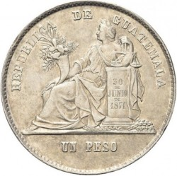 Moneda > 1peso, 1872-1873 - Guatemala  - reverse