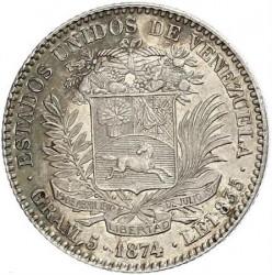 Moeda > 20centavos, 1874-1876 - Venezuela  - obverse