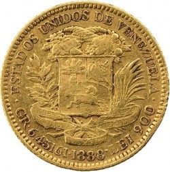 Münze > 20Bolivares, 1879-1912 - Venezuela  - reverse
