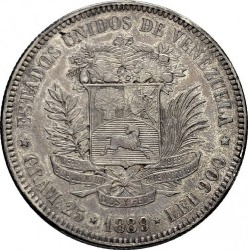 Moneta > 5bolivarai, 1879-1889 - Venesuela  - reverse