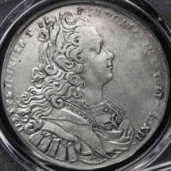 "Монета > 1 рубла, 1727 - Русия  (Mintmark ""СПБ"" - Saint Petersburg) - obverse"