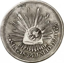 """Moneda > 8reales, 1824 - Mèxic  (Amb """"*"""" abans del valor nominal) - reverse"""