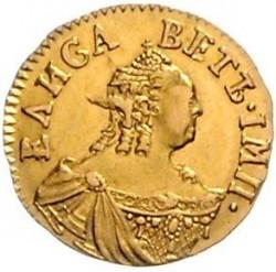 Mynt > 50kopeks(poltina), 1756 - Ryssland  (Guld /gul färg/) - obverse
