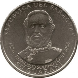 Coin > 1000 guaranies, 2006-2008 - Paraguay  - obverse