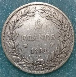 Moneta > 5franchi, 1830-1831 - Francia  - reverse