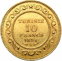 Moneda > 10francos, 1891-1902 - Túnez  - reverse