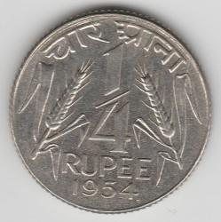 Coin > ¼rupee, 1950-1955 - India  - reverse