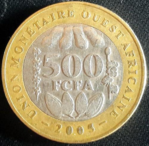 WEST AFRICAN STATES 500 FRANCS 2005 BIMETALLIC COIN UNC