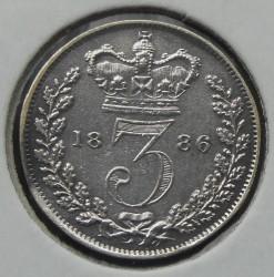 Moneta > 3pensy, 1886 - Wielka Brytania  - reverse