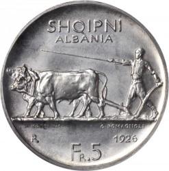 Moneda > 5frangaari, 1926 - Albània  - reverse