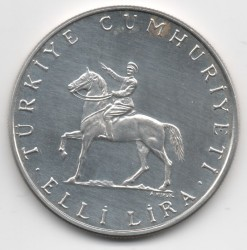 Moneta > 50lire, 1972 - Turchia  (50th Anniversary - Battle of Dumlupınar) - obverse