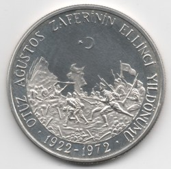 Moneta > 50lire, 1972 - Turchia  (50th Anniversary - Battle of Dumlupınar) - reverse