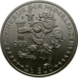 Moneda > 2½ECUs, 1995 - Països Baixos  (50è aniversari de l'Alliberament - Reina Guillermina) - reverse