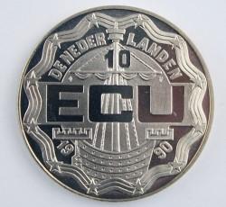 Moneta > 10ECUs, 1990 - Paesi Bassi  (650th Anniversary - Birth of Roman Catholic Deacon Geert Groot) - obverse