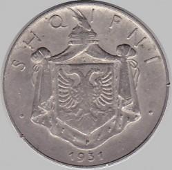 Coin > ½lek, 1930-1931 - Albania  - obverse