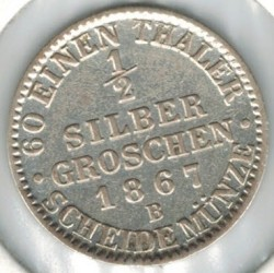 Moneda > ½groschendeplata, 1861-1873 - Prusia  - obverse
