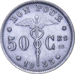 "Münze > 50Centime, 1922-1933 - Belgien  (Legende in französisch - ""Belgique"") - obverse"