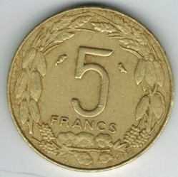 硬币 > 5法郎, 1965-1972 - 赤道非洲国家  - obverse