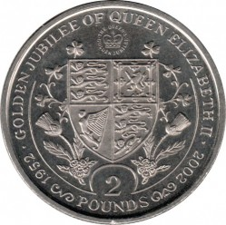 Mynt > 2 pounds, 2002 - Sydgeorgien  (50th Anniversary - Reign of Queen Elizabeth II /coat of arms/) - reverse