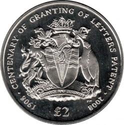 Pièce > 2livres, 2008 - Territoire antarctique britannique  (100e anniversaire - Octroi de lettres patentes) - reverse