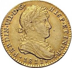 """Münze > 2Escudo, 1811 - Spanien  (Large portrait. 2 dot's after """"R"""") - obverse"""