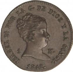 Moneta > 1maravedí, 1842-1843 - Hiszpania  - obverse
