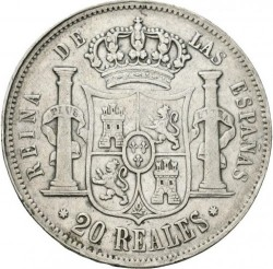 سکه > 20رئال, 1847-1855 - اسپانیا  - reverse