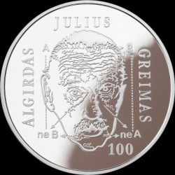 Moneta > 20euro, 2017 - Lituania  (100th Anniversary - Birth of Algirdas Julien Greimas) - reverse