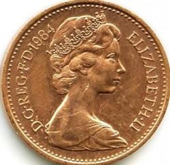Монета > 1пенни, 1982-1984 - Великобритания  - obverse