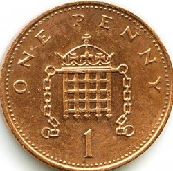 Монета > 1пенни, 1982-1984 - Великобритания  - reverse
