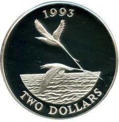 Moneta > 5dolarów, 1993 - Bermudy  (Featon żółtodzioby) - reverse