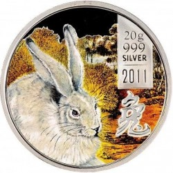 Moneda > 2 dólares, 2011 - Islas Cook  (Chinese Zodiac - Year of Rabbit /one rabbit on left/) - reverse