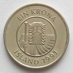 Mynt > 1krona, 1991 - Island  - obverse