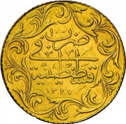 """Монета > 100курушів, 1909 - Османська імперія  (""""Reshat"""" праворуч від тугри; без зірок) - reverse"""