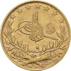 """Munt > 100kurus, 1909 - Ottomaanse Rijk  (""""el-Ghazi"""" right of Toughra; Stars) - obverse"""
