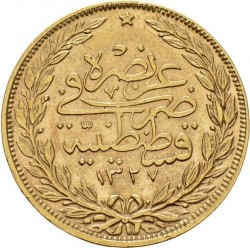 "Munt > 100kurus, 1909 - Ottomaanse Rijk  (""el-Ghazi"" right of Toughra; Stars) - reverse"