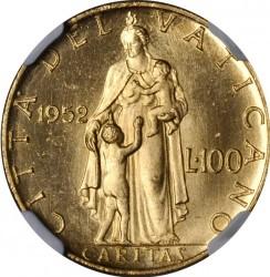 Moneta > 100lirów, 1951-1955 - Watykan  - reverse