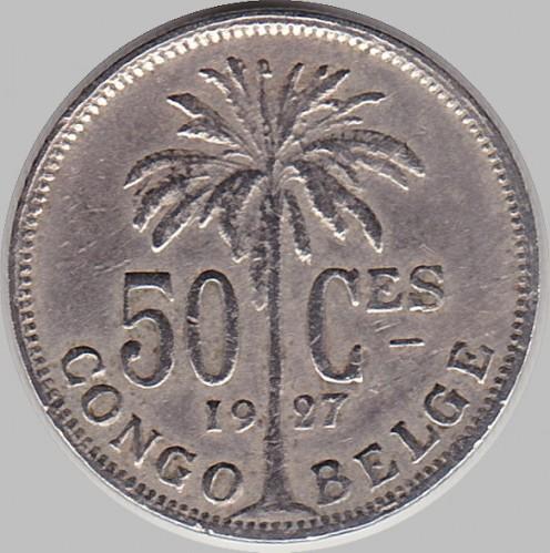50 Centime 1921 1929 Albert Roi Des Belges Belgisch Kongo